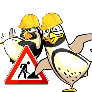Die Spreewelten-Pinguine als neugierige Baubegleiter