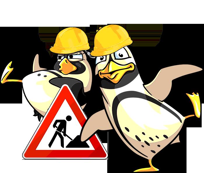 Die Spreewelten-Pinguine begleiten die Bauarbeiten